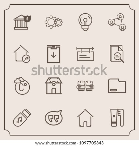 Modern, simple vector icon set with white, house, light, competition, electricity, fahrenheit, care, scale, document, action, money, bulb, estate, display, brush, bank, storage, sound, banking icons