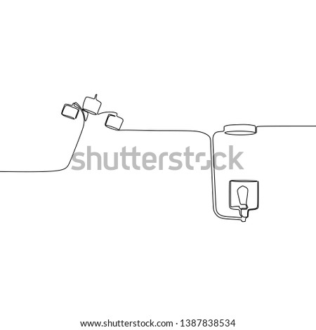 modern single lamp and triple lamp one line lamps on a white background Vector