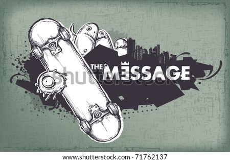 Modern sketchy style banner with skateboard. Layered. Vector EPS 10 illustration.