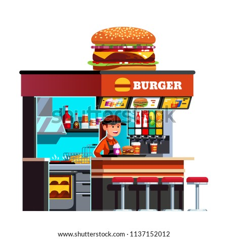 Modern small burger shop on the go kiosk decorated with big cheese burger. Welcoming restaurant chef cook woman serving meal with hamburger & milk shake. Flat vector illustration isolated on white