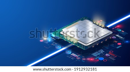 Modern smart electronic. Futuristic  CPU concept. Quantum computer, large data processing, database concept. Technology develop electronic devices microchip or microprocessor, hardware engineering. AI