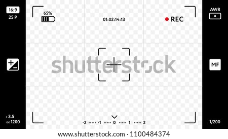 Wall mural Modern smart phone camera focusing screen on transparent background. Blank camera viewfinder grid with exposure, zoom zone and shooting settings. Realistic template for your design vector illustration