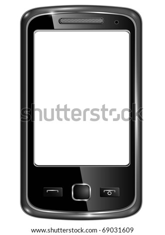 Modern smart phone for mobile communication with white screen, original design.