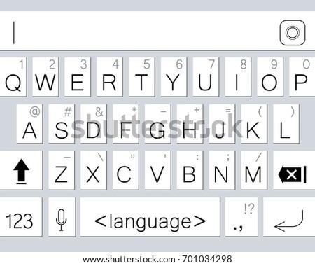 Modern smartphone keyboard of alphabet buttons. Mobile keyboard. Vector illustration