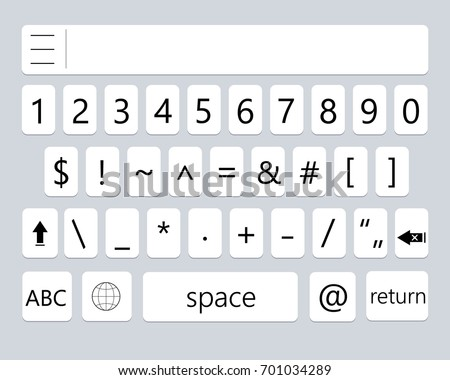 Modern smartphone keyboard of numbers buttons. Mobile keyboard. Vector illustration