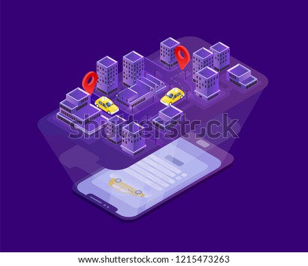 Modern smartphone lying on surface and projecting city map with taxi cars location indication. Mobile application for online cabs booking, internet service. Vector illustration in isometric style.