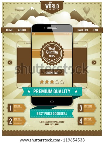 Modern smartphone on retro styled background with vintage ribbons. Cool web page design. Infographics elements. Vector illustration. - stock vector