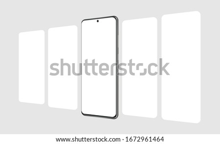 Modern smartphone with blank app screens mockup. Web design concept for responsive showcase presentation. Vector illustration