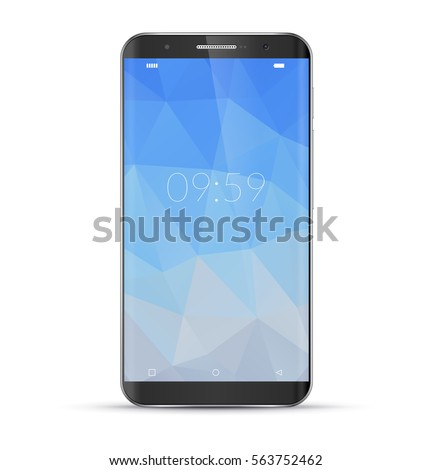 Modern smartphone with geometric polygonal screensaver. Realistic detailed black cellphone, mobile phone isolated on white background