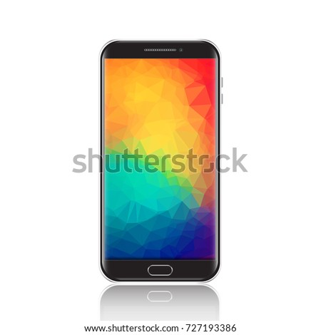 Shutterstock Modern smartphone with geometric polygonal screensaver. Realistic detailed black cellphone, mobile phone isolated on white background