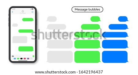 Modern smartphone with messenger chat screen. Template messages bubbles for compose dialogues. Social network, chatting and messaging concept.