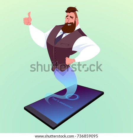 Modern smartphone with virtual assistant like a genie. Vector cartoon illustration.
