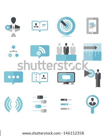 Modern Social Business Icons that include: Add Person, Profile Page, Hit Target, Mobile Chat, Social Tablet, Add to group, Feed, Timeline Selection, Speaking, Social Media, Target Demographic, Wifi,