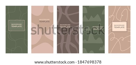 Modern social media stories layout template, organic abstract shape in pastel pink and green colors. Creative hand drawn design, simple wallpaper backgrounds and frame, cover for wedding invitation. Photo stock ©