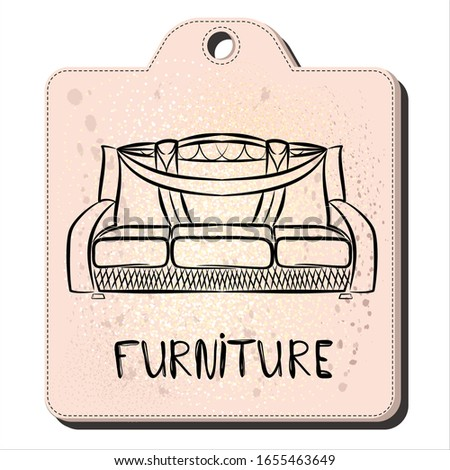 modern sofa in the style of line art. Tag for furniture sales. Hand lettering furniture. Element for interior design of the living room. Furniture sketch. Vector