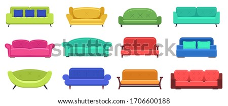 Modern sofas. Comfortable modern apartment couch, cozy sofas, house couch furniture, domestic sofas lounge. Vector isolated illustration set. Couch and sofa furniture, modern comfortable illustration