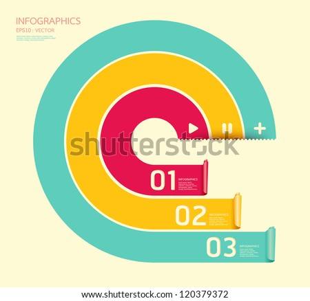 Modern soft color Circle Design template / can be used for infographics / numbered banners / horizontal cutout lines / graphic or website layout vector