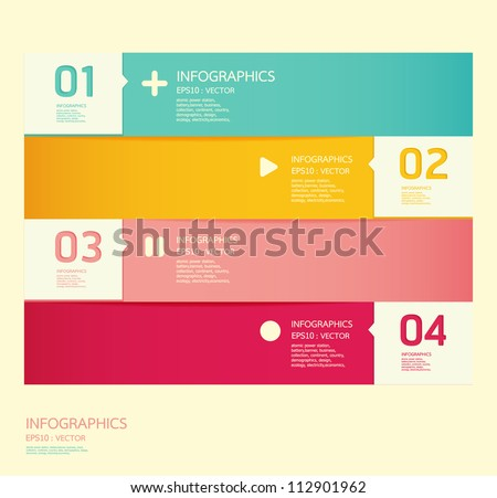 Modern soft color Design template  / can be used for infographics / numbered banners / horizontal cutout lines / graphic or website layout vector
