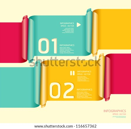 Modern soft color Design template  / can be used for infographics / numbered banners / horizontal cutout lines / graphic or website layout vector/Horizontal