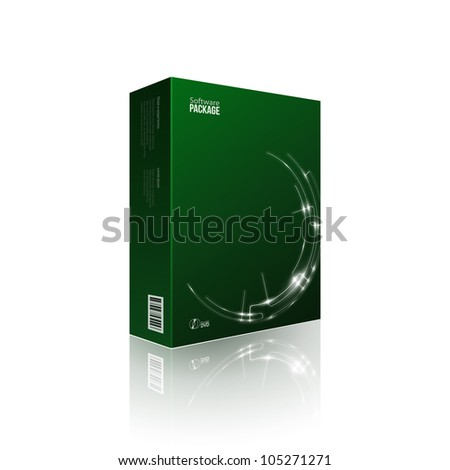Modern Software Package Box Green With DVD Or CD Disk EPS10