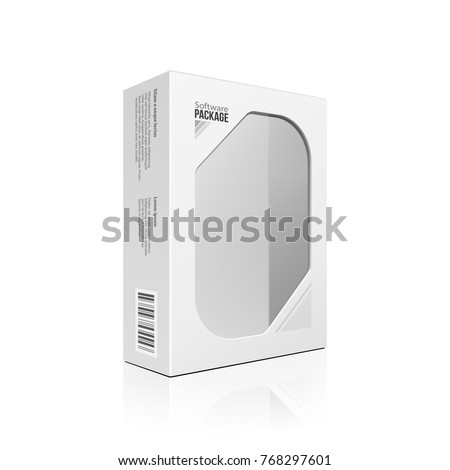 Modern Software Product Package Box With Window For DVD Or CD Disk. Mockup 3D Illustration On White Background Isolated. Ready For Your Design. Packing. Vector EPS10