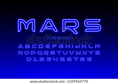 Modern space style typeface, alphabet letters and numbers vector illustration