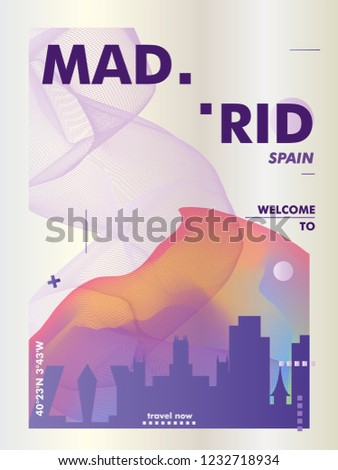 Modern Spain Madrid skyline abstract gradient poster art. Travel guide cover city vector illustration