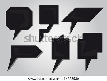 Modern Speech black bubbles set