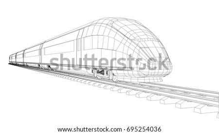 modern speed train silhouette