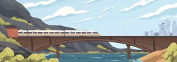 Modern speedy train on railway at old brick bridge over sea vector graphic illustration. Fast electric transport moving on railroad at beautiful natural landscape mountain, sky and city