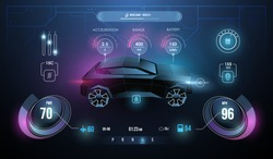Modern sports car dashboard with navigation display. Cockpit of futuristic autonomous car. Abstract virtual graphic touch user interface. Car Auto Service, Modern Design, Diagnostic Auto.