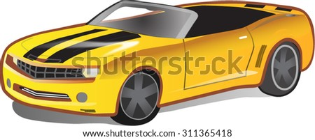 Modern sports car yellow. Street racing. Vector.