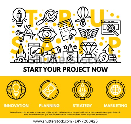 Modern startup concept background. Outline illustration of modern startup vector concept background for web design