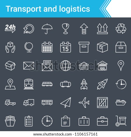 Modern, stroked logistics and transport icons isolated on dark background