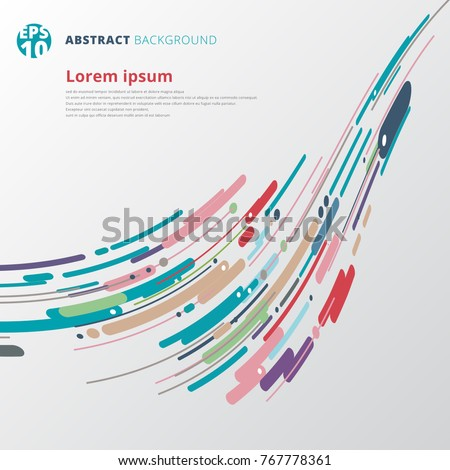 Modern style abstract with composition made of various motion lines swirl curve rounded perspective shapes colorful. Vector illustration.