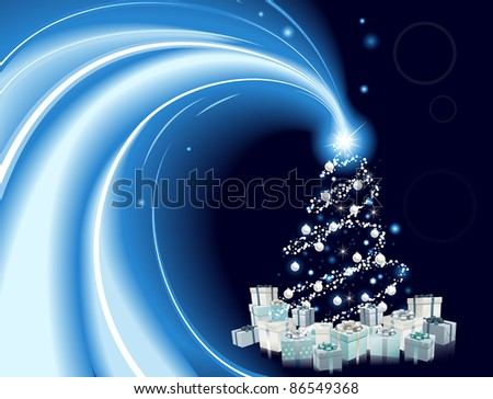 Modern style Christmas tree background. Blue and silver Christmas tree with star, baubles and gifts.