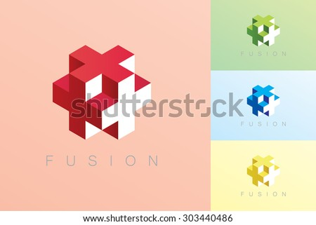 modern style cube vector in red