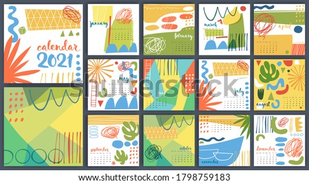 Modern style hand drawn abstract vector 2021 calendar. Cool calendar template for brochure with hand drawn elements.