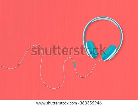Modern style headphones on the red orange background. Vector illustration.