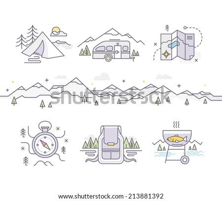 Modern style illustration of camping, traveling, adventure and tourism for web, print and mobile applications