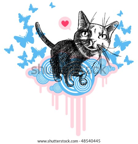 Modern style: illustration realistic cat sitting on pink and blue clouds with blue butterflies