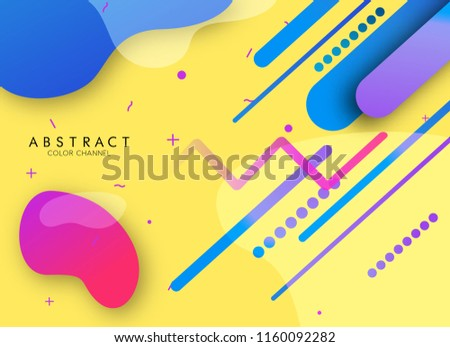 Modern style Vector abstraction background texture design, bright poster, banner yellow background,  pink and blue stripes and shapes rounded shapes in color.