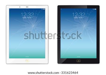 Modern styled digital tablet with broken screen.