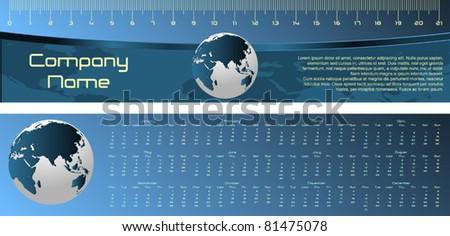 Modern stylish bookmark ruler with calendar for 2012. Vector illustration.