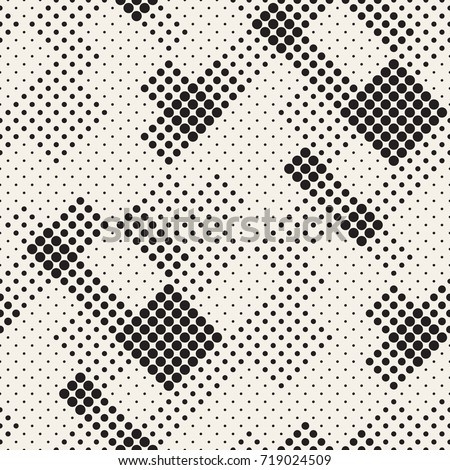 Modern Stylish Halftone Texture. Endless Abstract Background With Circles. Vector Seamless Mosaic Pattern.