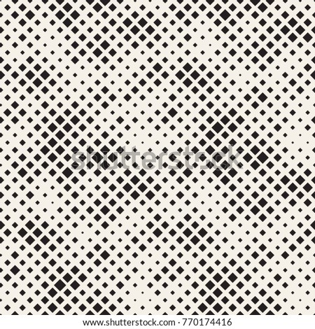 Modern Stylish Halftone Texture. Endless Abstract Background With Random Size Squares. Vector Seamless Chaotic Squares Mosaic Pattern