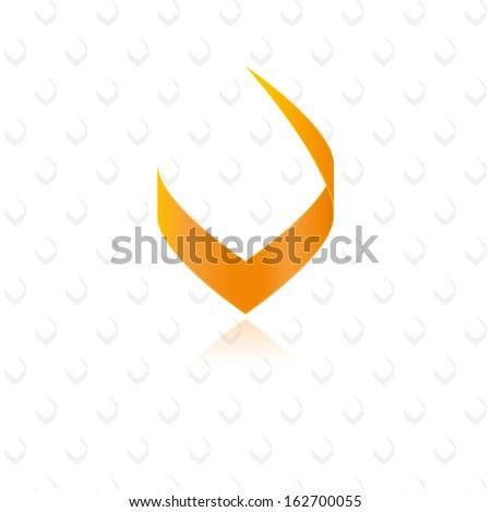 modern stylish orange letter v