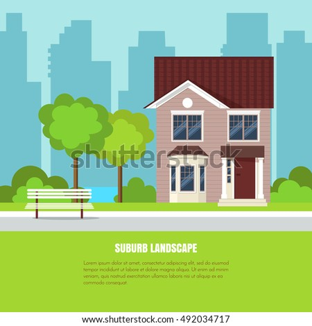 Modern stylish suburb landscape with house, bench and trees in beautiful yard on green grass and city background. Vector illustration. Flat style house building.