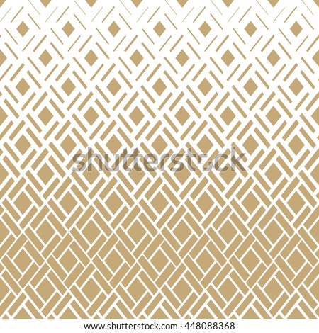 Modern stylish texture with rhombuses, squares . Seamless vector pattern. Repeating geometric tiles. Gold and white texture.