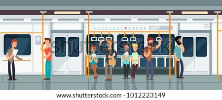 Modern subway passenger carriage interior with people vector illustration. Interior of train with passenger transportation